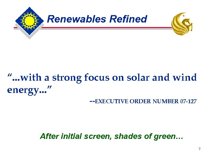 "Renewables Refined "". . . with a strong focus on solar and wind energy."