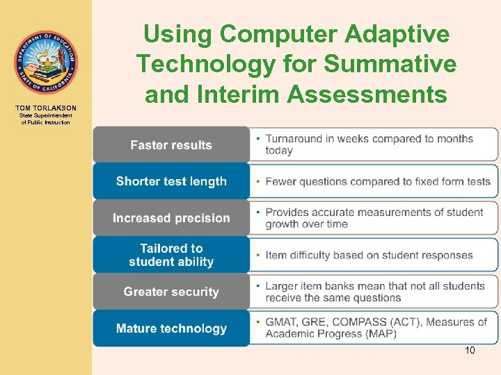 TOM TORLAKSON Using Computer Adaptive Technology for Summative and Interim Assessments State Superintendent of