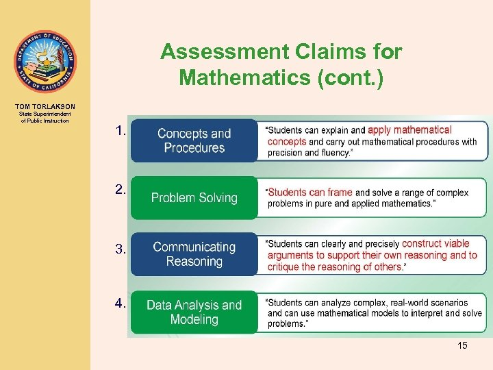 Assessment Claims for Mathematics (cont. ) TOM TORLAKSON State Superintendent of Public Instruction 1.