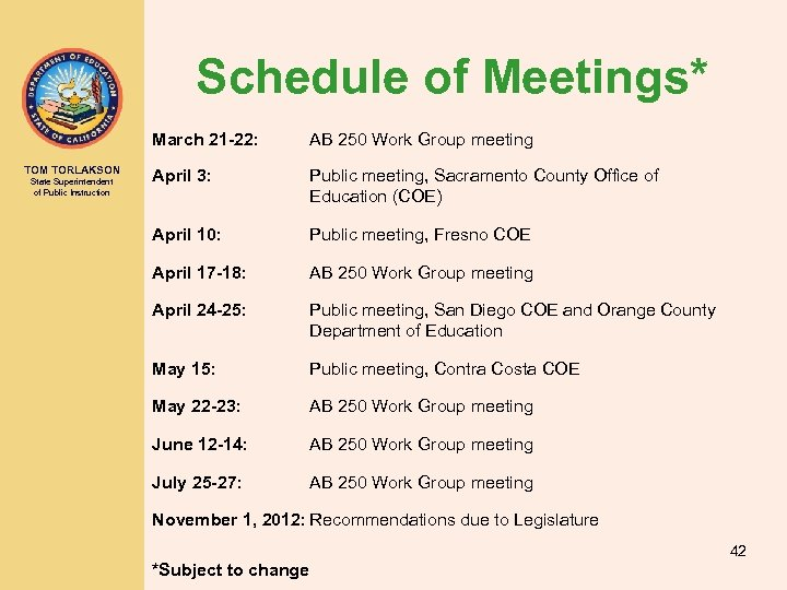 Schedule of Meetings* March 21 -22: TOM TORLAKSON State Superintendent of Public Instruction AB