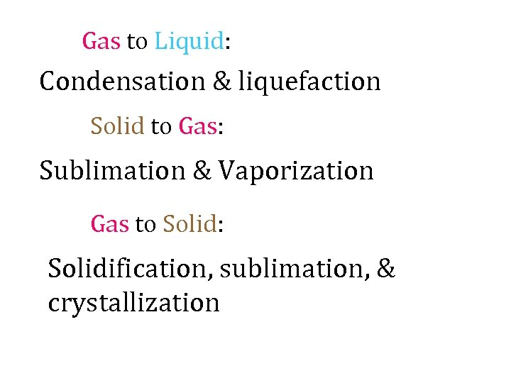 Gas to Liquid: Condensation & liquefaction Solid to Gas: Sublimation & Vaporization Gas to