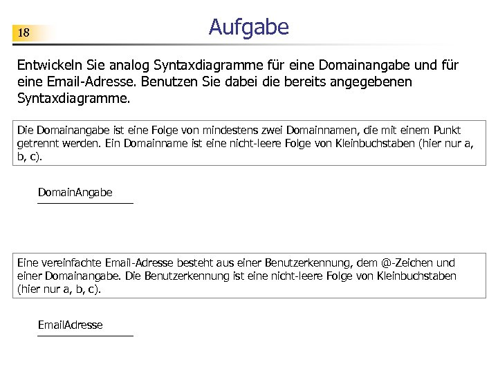 Aufgabe 18 Entwickeln Sie analog Syntaxdiagramme für eine Domainangabe und für eine Email-Adresse. Benutzen