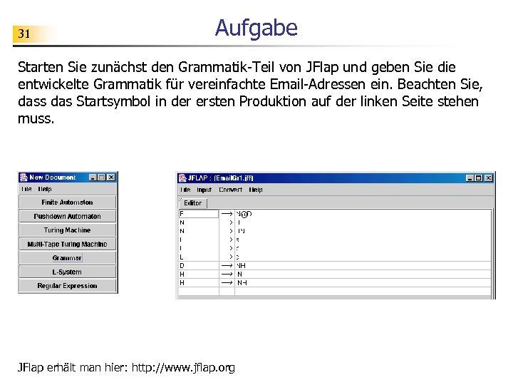 31 Aufgabe Starten Sie zunächst den Grammatik-Teil von JFlap und geben Sie die entwickelte