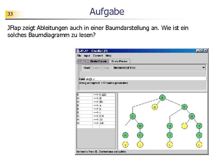 33 Aufgabe JFlap zeigt Ableitungen auch in einer Baumdarstellung an. Wie ist ein solches