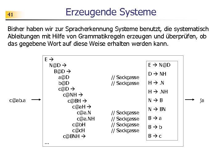 41 Erzeugende Systeme Bisher haben wir zur Spracherkennung Systeme benutzt, die systematisch Ableitungen mit