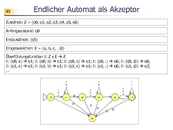 45 Endlicher Automat als Akzeptor Zustände: Z = {q 0, q 1, q 2,