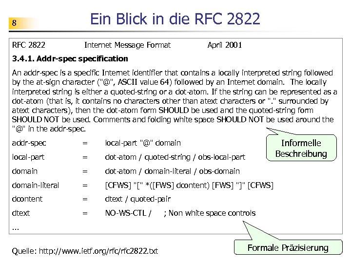 Ein Blick in die RFC 2822 8 RFC 2822 Internet Message Format April 2001