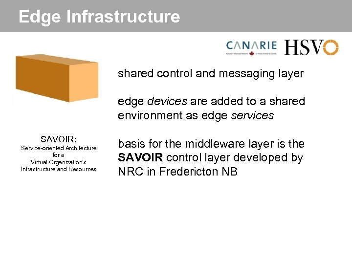 Edge Infrastructure shared control and messaging layer edge devices are added to a shared