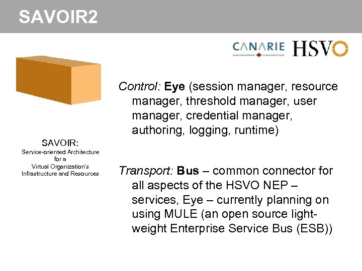 SAVOIR 2 Control: Eye (session manager, resource manager, threshold manager, user manager, credential manager,