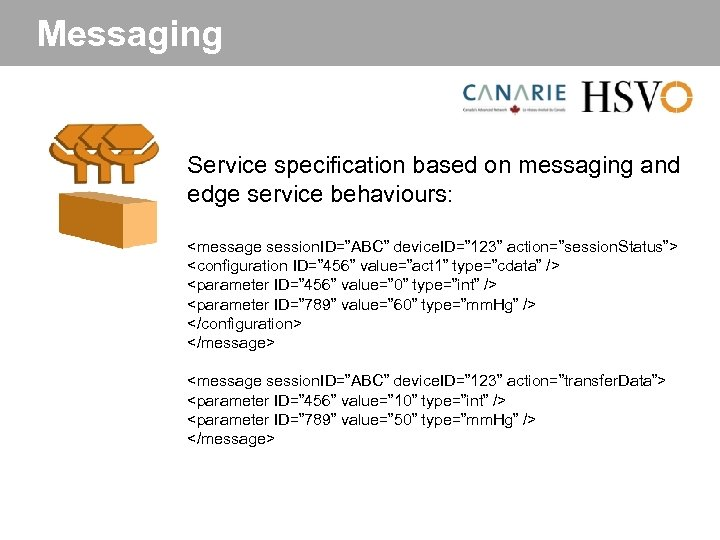 "Messaging Service specification based on messaging and edge service behaviours: <message session. ID=""ABC"" device."