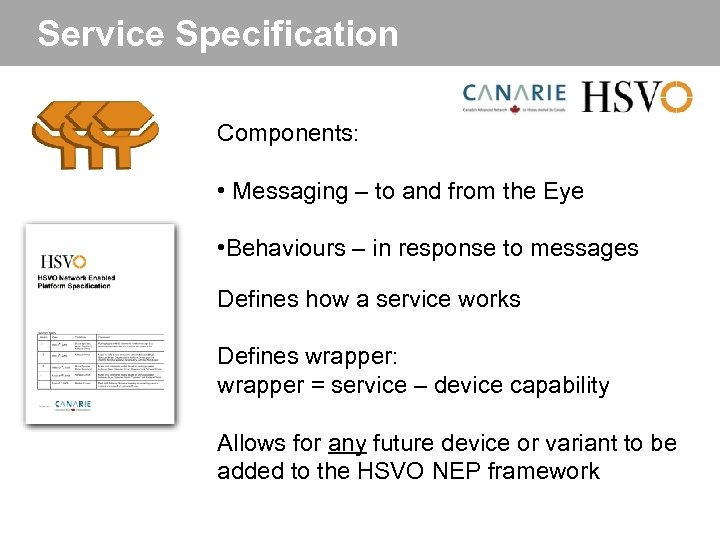 Service Specification Components: • Messaging – to and from the Eye • Behaviours –