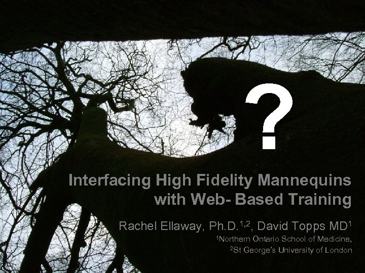 ? Interfacing High Fidelity Mannequins with Web- Based Training Rachel Ellaway, Ph. D. 1,