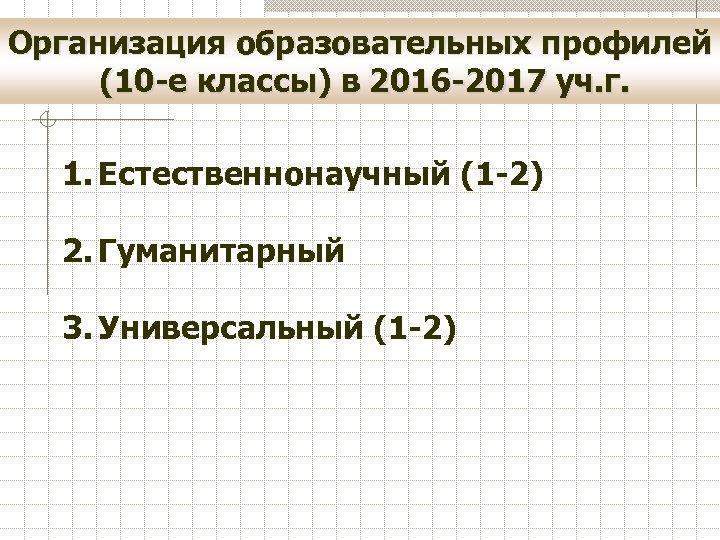 Организация образовательных профилей (10 -е классы) в 2016 -2017 уч. г. 1. Естественнонаучный (1