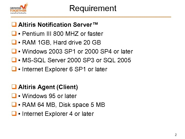 Requirement q Altiris Notification Server™ q • Pentium III 800 MHZ or faster q