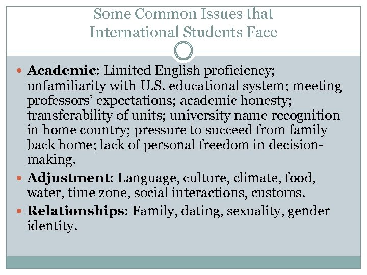 Some Common Issues that International Students Face Academic: Limited English proficiency; unfamiliarity with U.