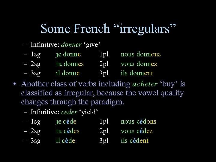 "Some French ""irregulars"" – – Infinitive: donner 'give' 1 sg je donne 1 pl"
