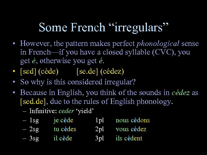 """Some French """"irregulars"""" • However, the pattern makes perfect phonological sense in French—if you"""
