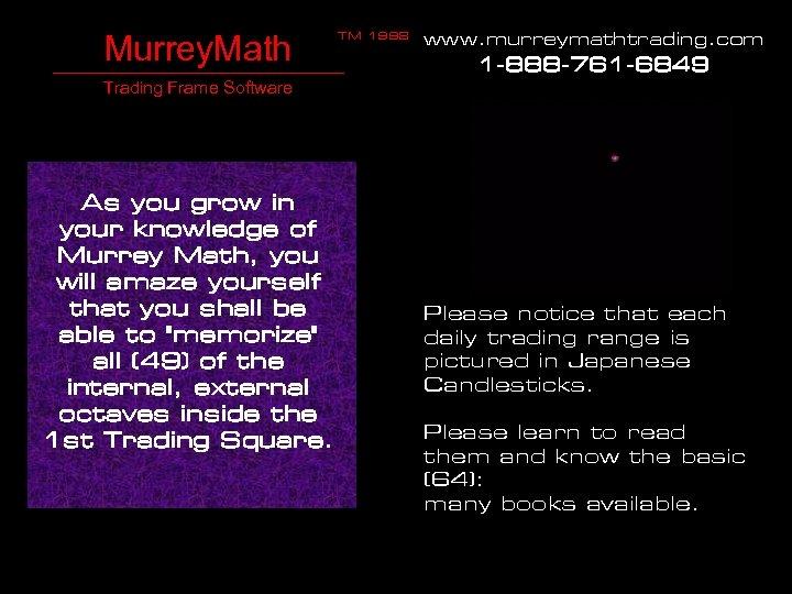 Murrey. Math TM 1998 www. murreymathtrading. com 1 -888 -761 -6849 Trading Frame Software