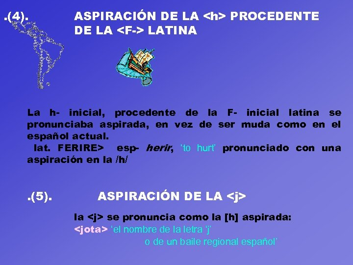 . (4). ASPIRACIÓN DE LA <h> PROCEDENTE DE LA <F-> LATINA La h- inicial,