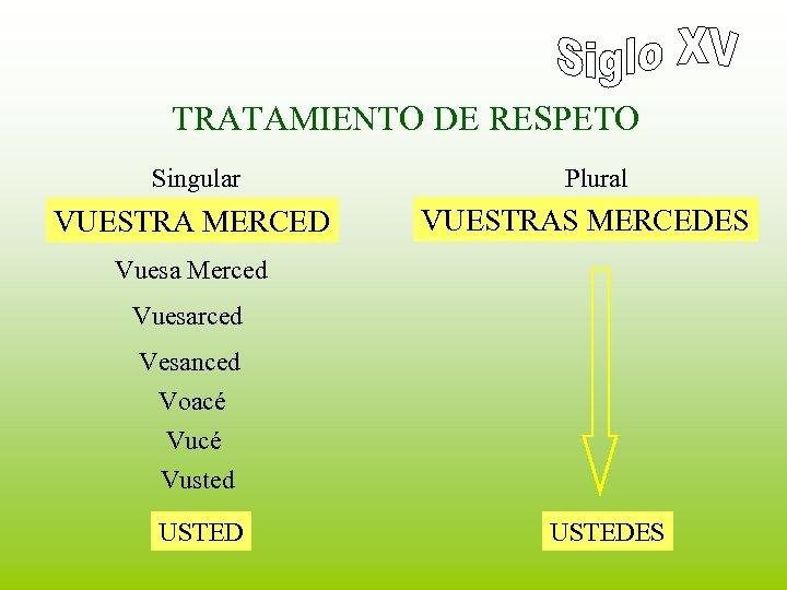 TRATAMIENTO DE RESPETO Singular VUESTRA MERCED Plural VUESTRAS MERCEDES Vuesa Merced Vuesarced Vesanced Voacé