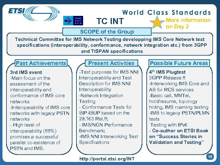 TC INT SCOPE of the Group More information on Day 2 Technical Committee for