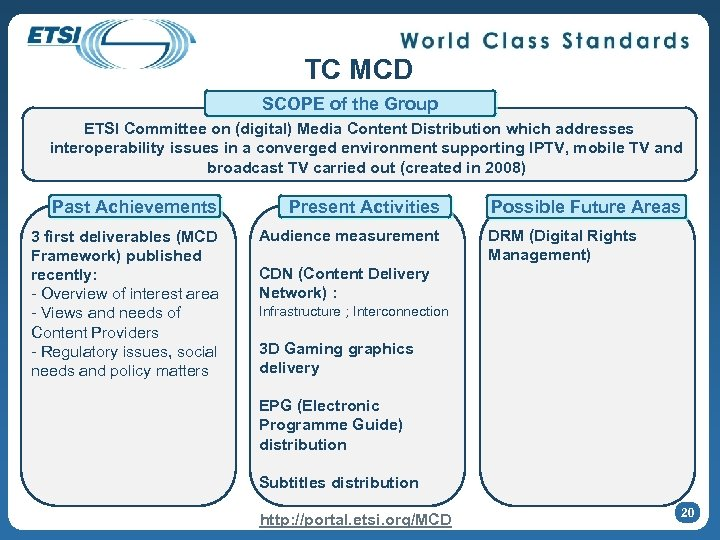 TC MCD SCOPE of the Group ETSI Committee on (digital) Media Content Distribution which