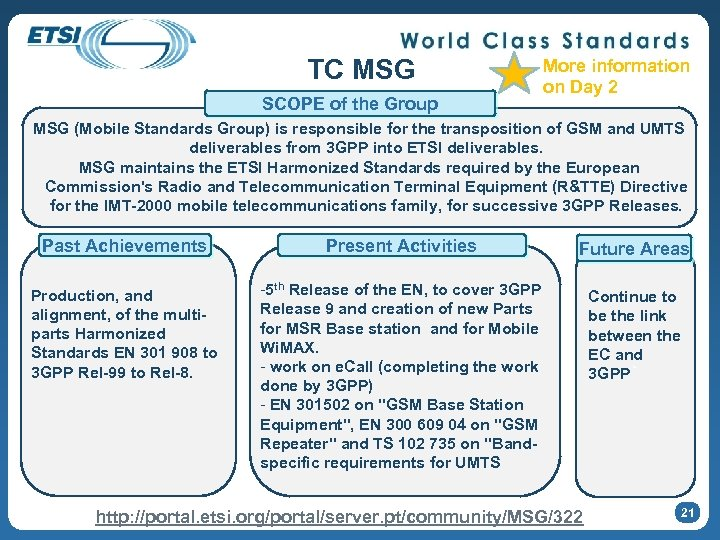 TC MSG SCOPE of the Group More information on Day 2 MSG (Mobile Standards