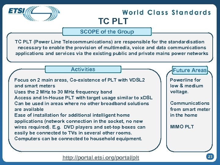 TC PLT SCOPE of the Group TC PLT (Power Line Telecommunications) are responsible for
