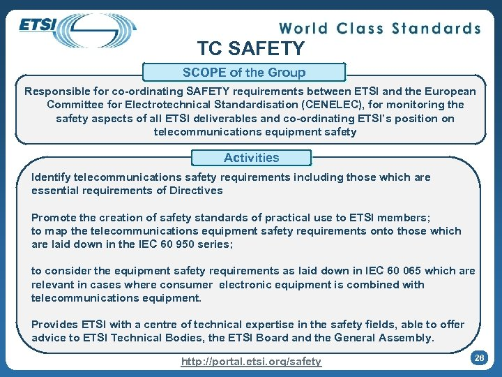 TC SAFETY SCOPE of the Group Responsible for co-ordinating SAFETY requirements between ETSI and