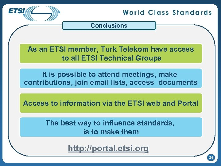 Conclusions As an ETSI member, Turk Telekom have access to all ETSI Technical Groups