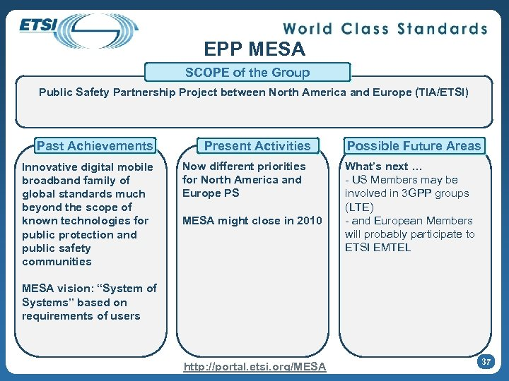 EPP MESA SCOPE of the Group Public Safety Partnership Project between North America and
