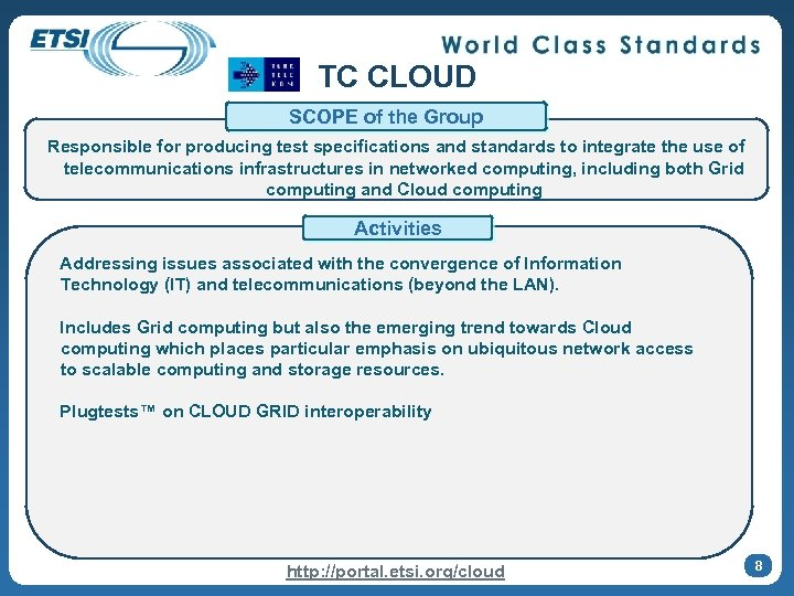 TC CLOUD SCOPE of the Group Responsible for producing test specifications and standards to
