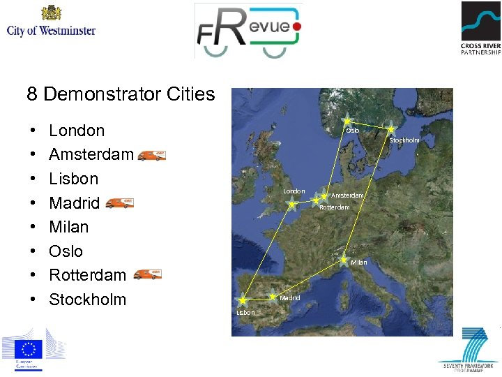 8 Demonstrator Cities • • London Amsterdam Lisbon Madrid Milan Oslo Rotterdam Stockholm Oslo