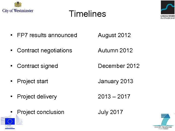 Timelines • FP 7 results announced August 2012 • Contract negotiations Autumn 2012 •