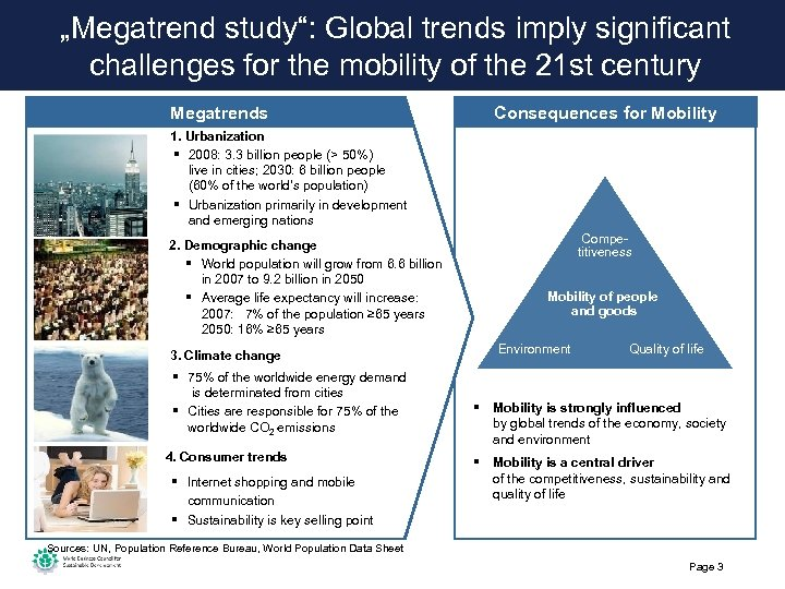 """Megatrend study"": Global trends imply significant challenges for the mobility of the 21 st"