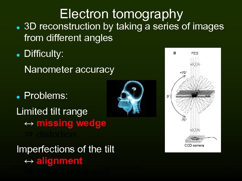 Electron tomography 3 D reconstruction by taking a series of images from different angles