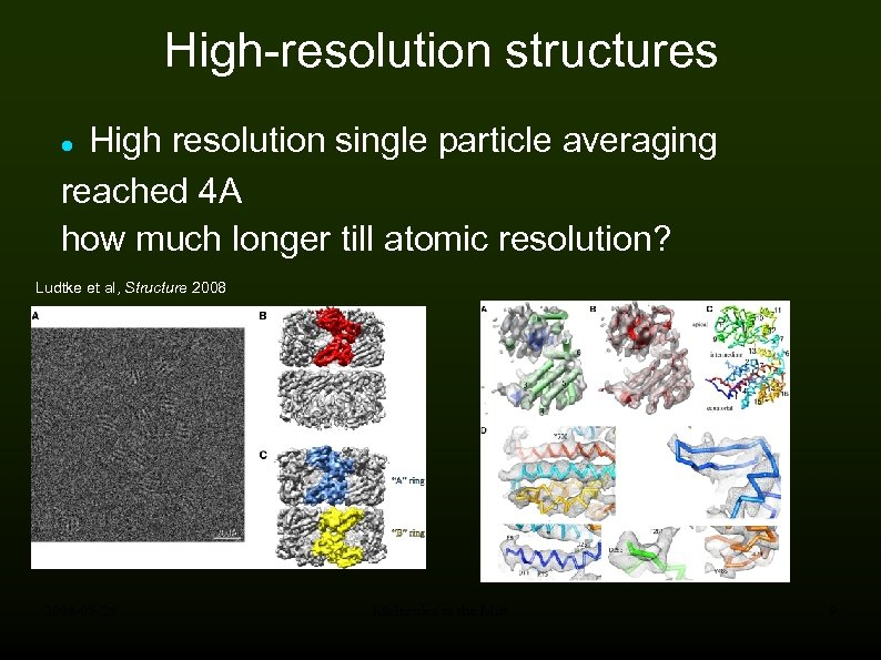 High-resolution structures High resolution single particle averaging reached 4 A how much longer till