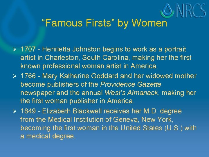 """""""Famous Firsts"""" by Women 1707 - Henrietta Johnston begins to work as a portrait"""