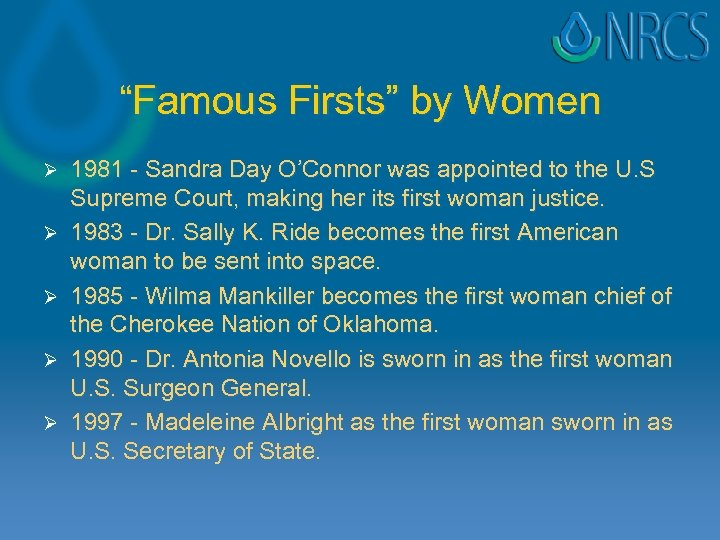 """""""Famous Firsts"""" by Women Ø Ø Ø 1981 - Sandra Day O'Connor was appointed"""