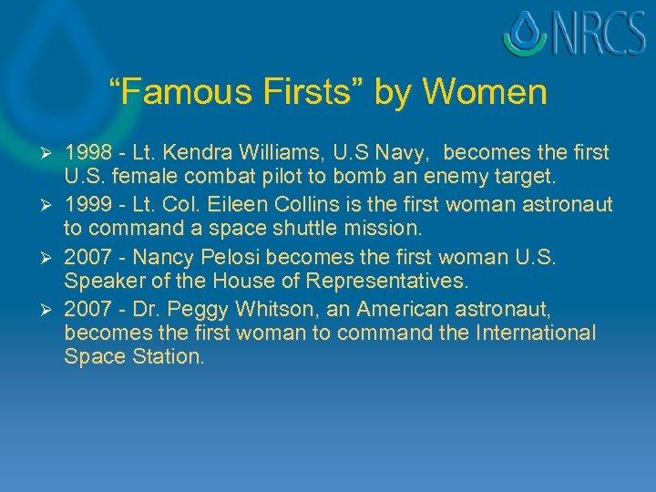 """Famous Firsts"" by Women Ø Ø 1998 - Lt. Kendra Williams, U. S Navy,"