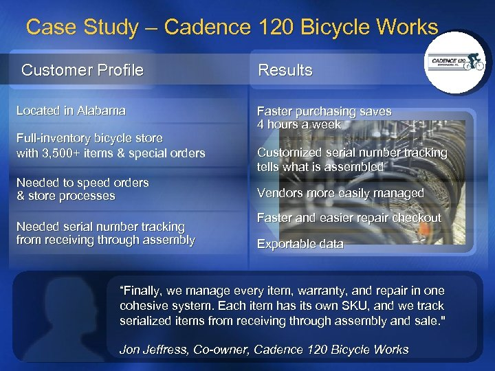 Case Study – Cadence 120 Bicycle Works Customer Profile Located in Alabama Full-inventory bicycle