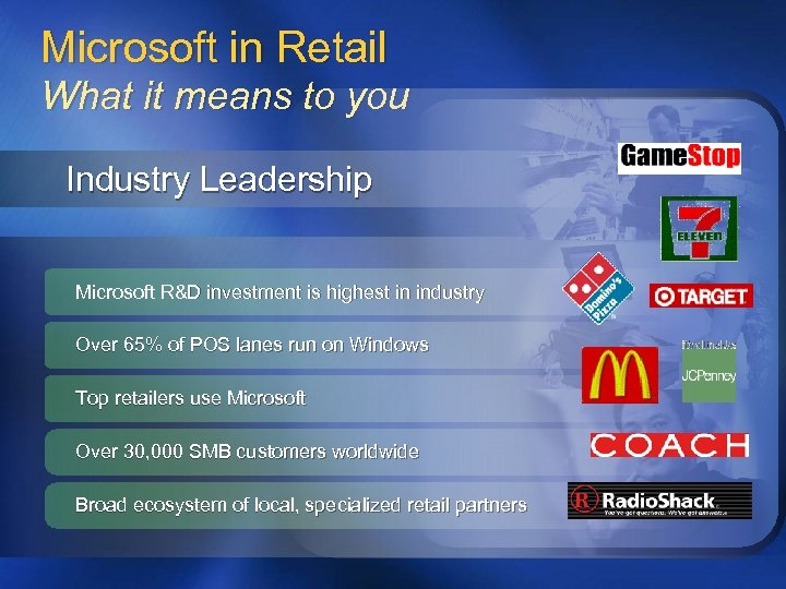 Microsoft in Retail What it means to you Industry Leadership Microsoft R&D investment is