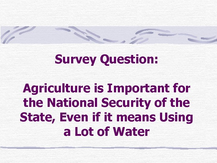 Survey Question: Agriculture is Important for the National Security of the State, Even if