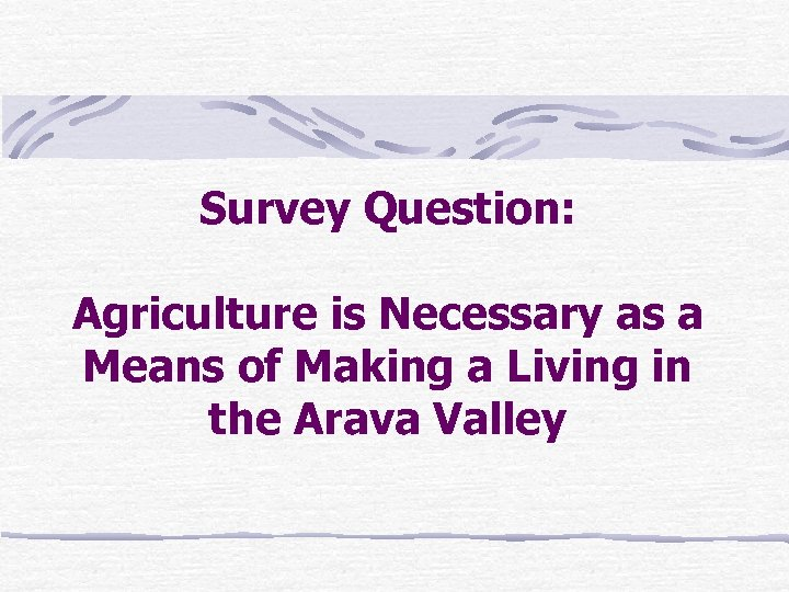 Survey Question: Agriculture is Necessary as a Means of Making a Living in the