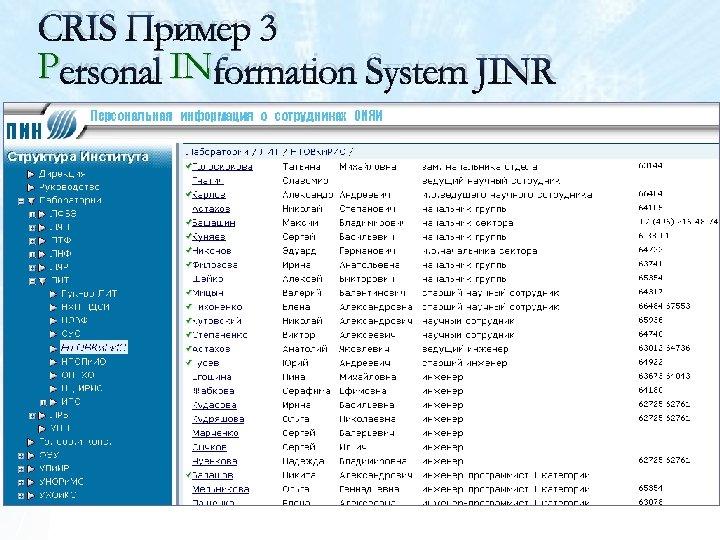 CRIS Пример 3 Personal INformation System JINR