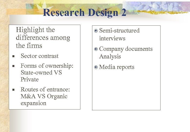 Research Design 2 Highlight the differences among the firms Sector contrast Forms of ownership: