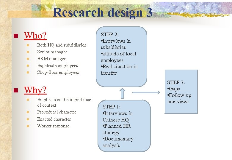 Research design 3 n Who? n n n Both HQ and subsidiaries Senior manager