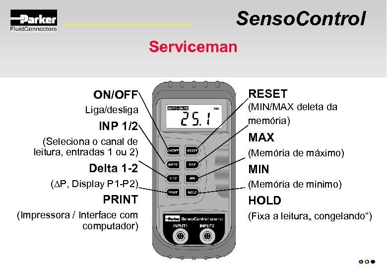 Senso. Control Serviceman ON/OFF Liga/desliga INP 1/2 (Seleciona o canal de leitura, entradas 1