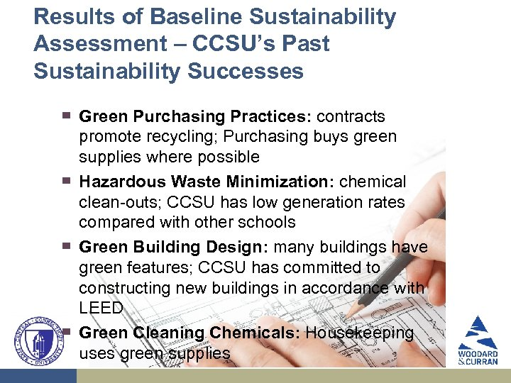 Results of Baseline Sustainability Assessment – CCSU's Past Sustainability Successes ▀ ▀ Green Purchasing