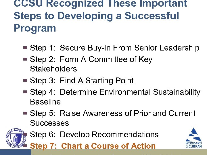CCSU Recognized These Important Steps to Developing a Successful Program ▀ ▀ ▀ ▀